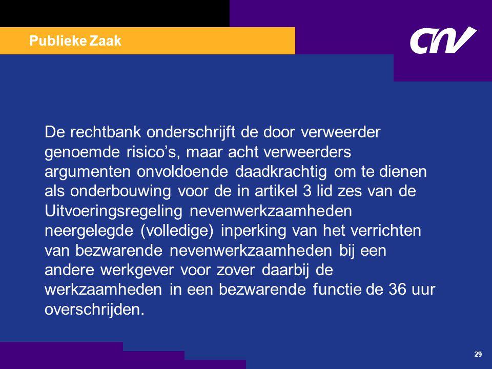 Publieke Zaak 29 De rechtbank onderschrijft de door verweerder genoemde risico's, maar acht verweerders argumenten onvoldoende daadkrachtig om te dien
