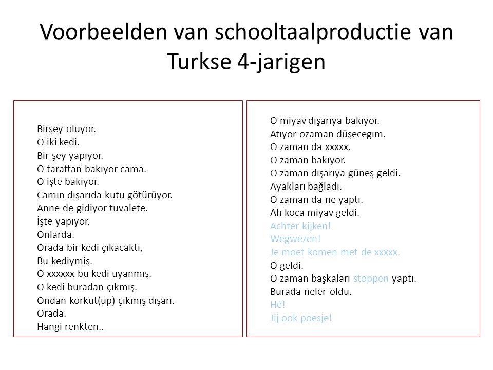 Voorbeelden van schooltaalproductie van Turkse 4-jarigen Birşey oluyor.