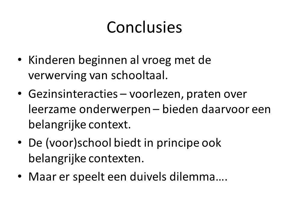 Conclusies • Kinderen beginnen al vroeg met de verwerving van schooltaal. • Gezinsinteracties – voorlezen, praten over leerzame onderwerpen – bieden d