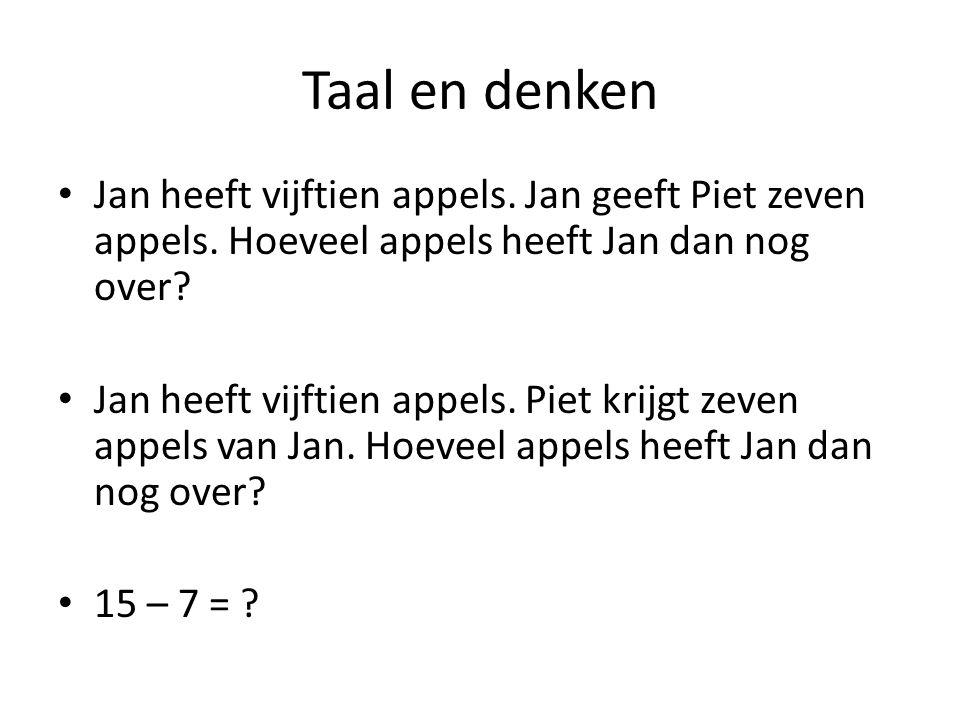 Taal en denken • Jan heeft vijftien appels. Jan geeft Piet zeven appels. Hoeveel appels heeft Jan dan nog over? • Jan heeft vijftien appels. Piet krij