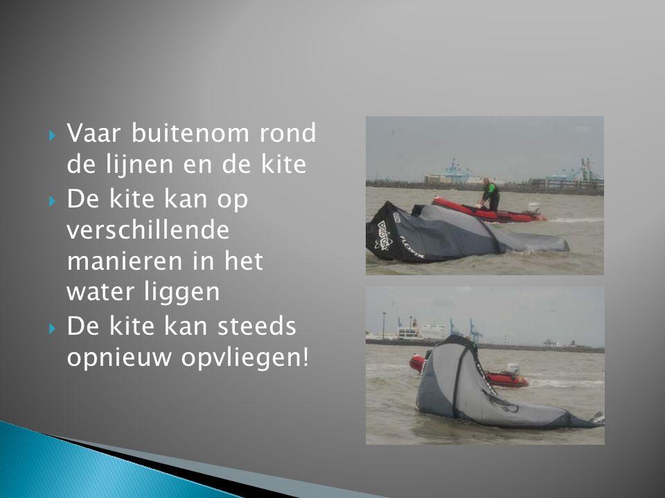  Vaar buitenom rond de lijnen en de kite  De kite kan op verschillende manieren in het water liggen  De kite kan steeds opnieuw opvliegen!