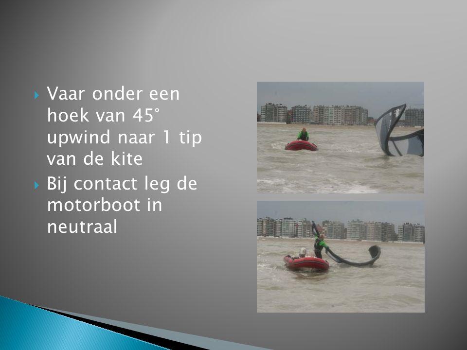  Vaar onder een hoek van 45° upwind naar 1 tip van de kite  Bij contact leg de motorboot in neutraal