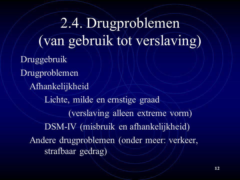 12 2.4. Drugproblemen (van gebruik tot verslaving) Druggebruik Drugproblemen Afhankelijkheid Lichte, milde en ernstige graad (verslaving alleen extrem
