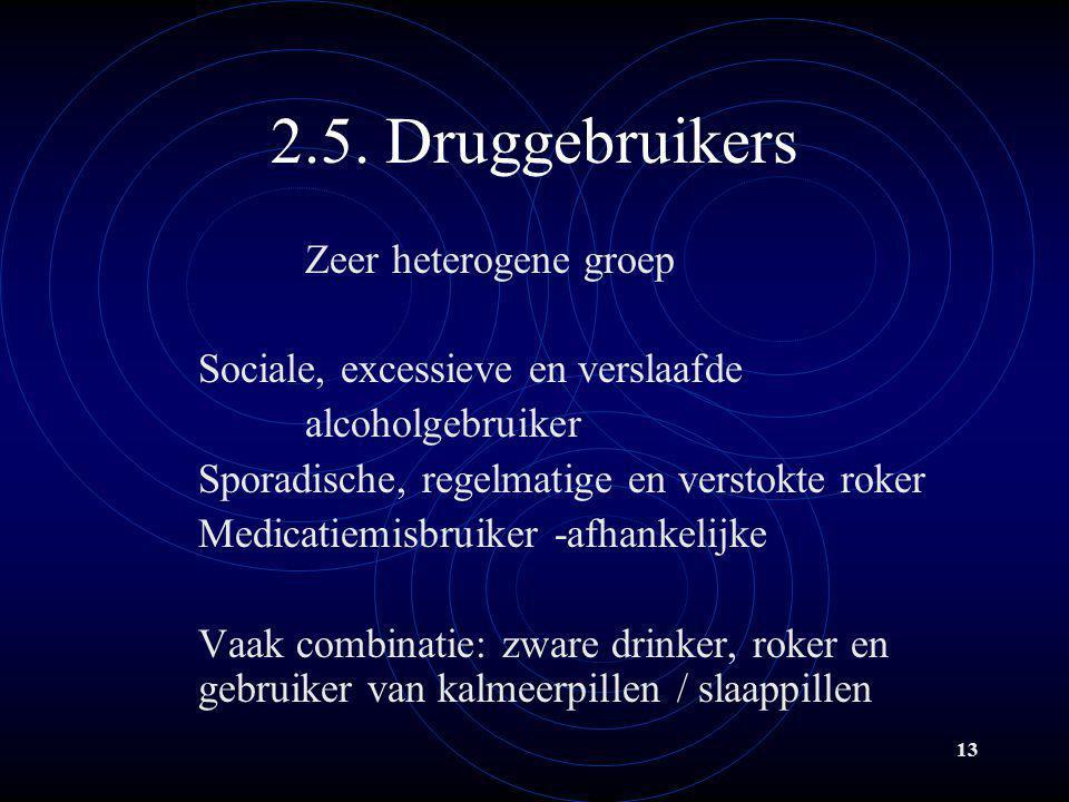 13 2.5. Druggebruikers Zeer heterogene groep Sociale, excessieve en verslaafde alcoholgebruiker Sporadische, regelmatige en verstokte roker Medicatiem