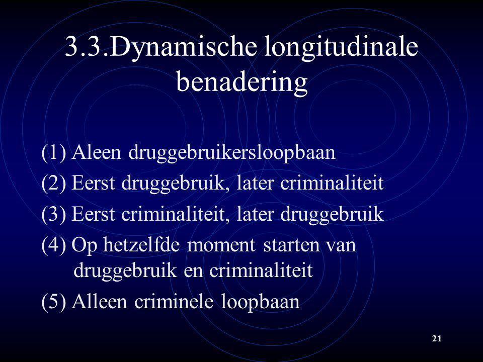 21 3.3.Dynamische longitudinale benadering (1) Aleen druggebruikersloopbaan (2) Eerst druggebruik, later criminaliteit (3) Eerst criminaliteit, later