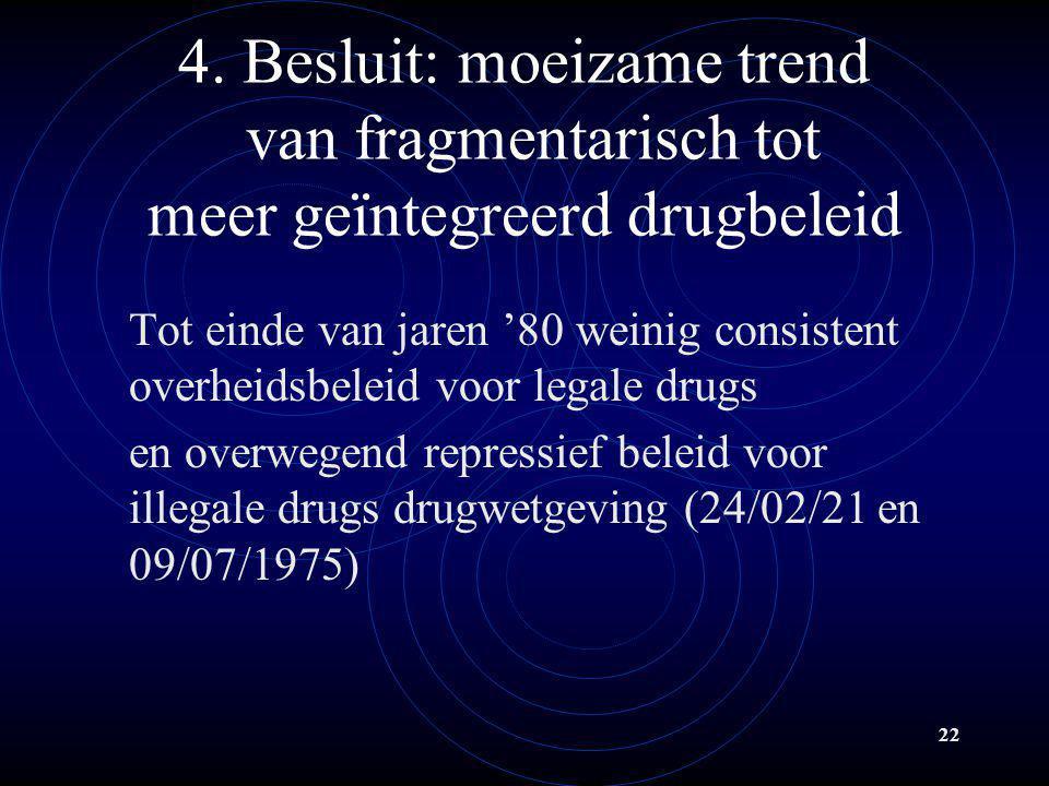 22 4. Besluit: moeizame trend van fragmentarisch tot meer geïntegreerd drugbeleid Tot einde van jaren '80 weinig consistent overheidsbeleid voor legal