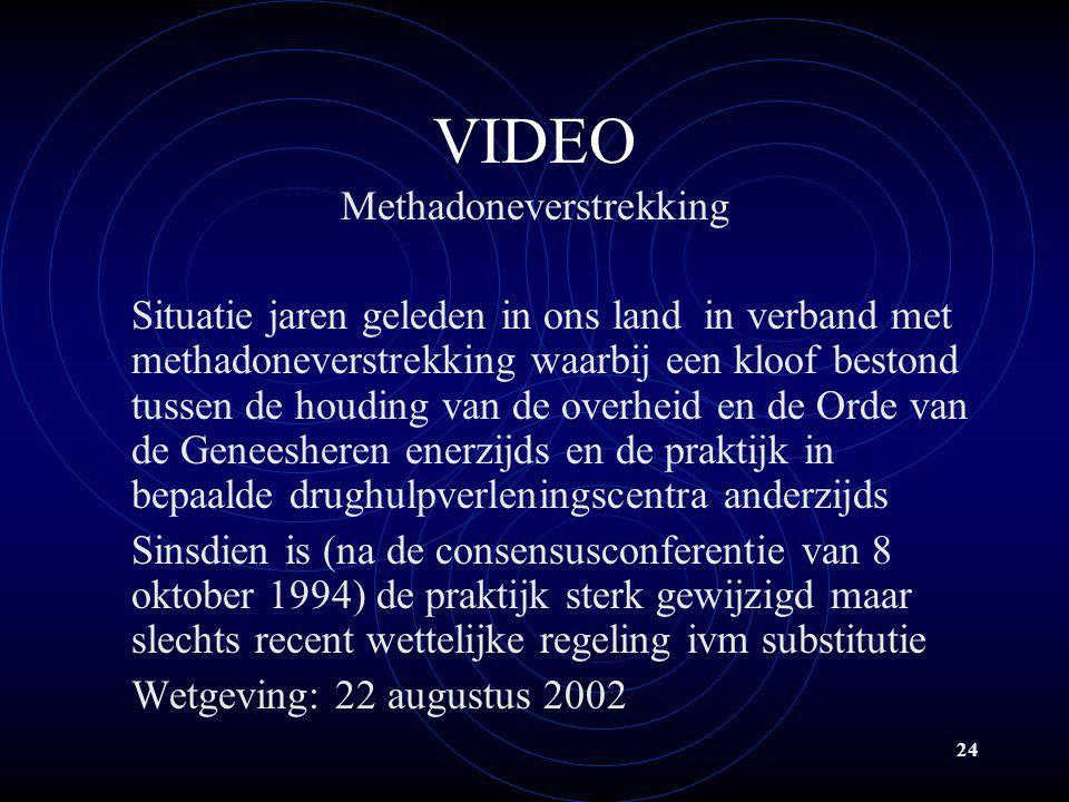 24 VIDEO Methadoneverstrekking Situatie jaren geleden in ons land in verband met methadoneverstrekking waarbij een kloof bestond tussen de houding van