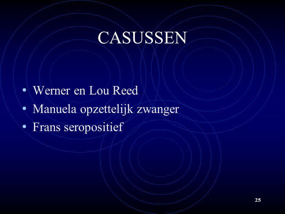 25 CASUSSEN • Werner en Lou Reed • Manuela opzettelijk zwanger • Frans seropositief