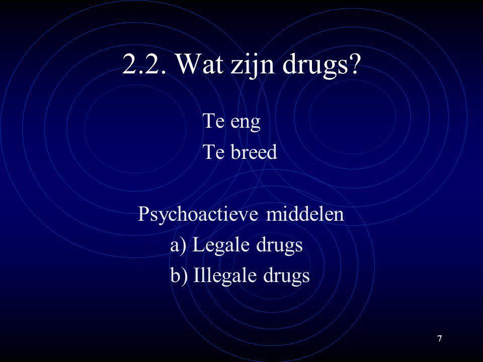 18 (B) Illegale drugs a) Druggerelateerde misdrijven (1) Bezit (overtreding drugwet) (2) Onder invloed (intoxicatie, eventueel pathologische intoxicatie) (3) Verwervings- en geweldmisdrijven (afhakelijkheid, ontwenning, comorbiditeit) (4) Drughandel -Kleinhandel -Groothandel NB: Slachtoffer van geweld (PTSS + automedicatie)