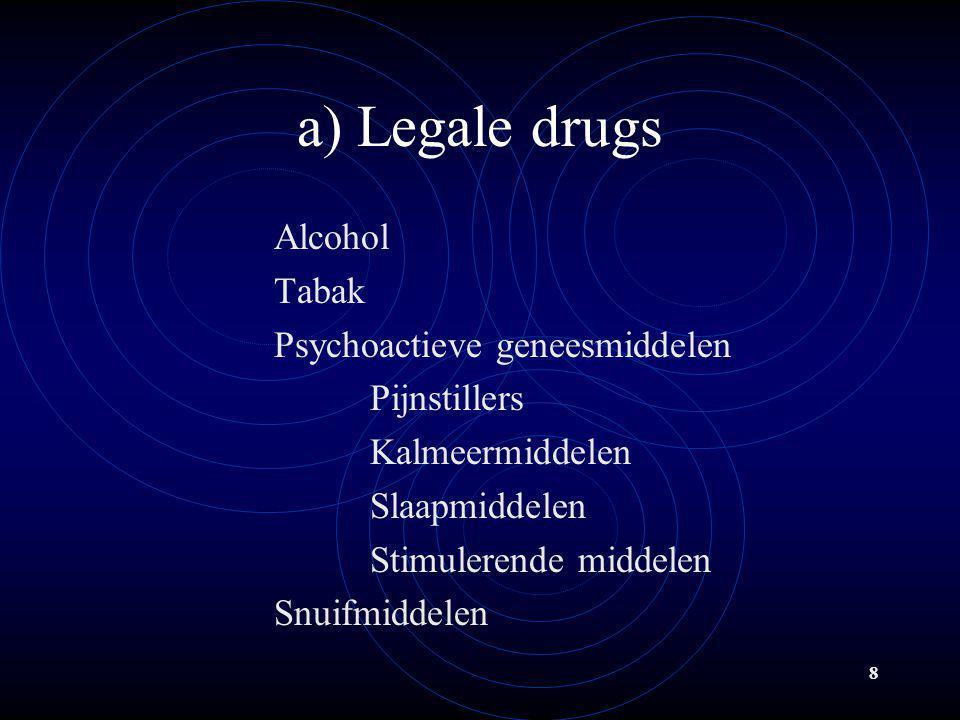 8 a) Legale drugs Alcohol Tabak Psychoactieve geneesmiddelen Pijnstillers Kalmeermiddelen Slaapmiddelen Stimulerende middelen Snuifmiddelen