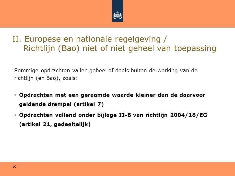 10 II. Europese en nationale regelgeving / Richtlijn (Bao) niet of niet geheel van toepassing Sommige opdrachten vallen geheel of deels buiten de werk