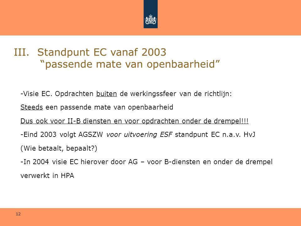 """12 III. Standpunt EC vanaf 2003 """"passende mate van openbaarheid"""" -Visie EC. Opdrachten buiten de werkingssfeer van de richtlijn: Steeds een passende m"""