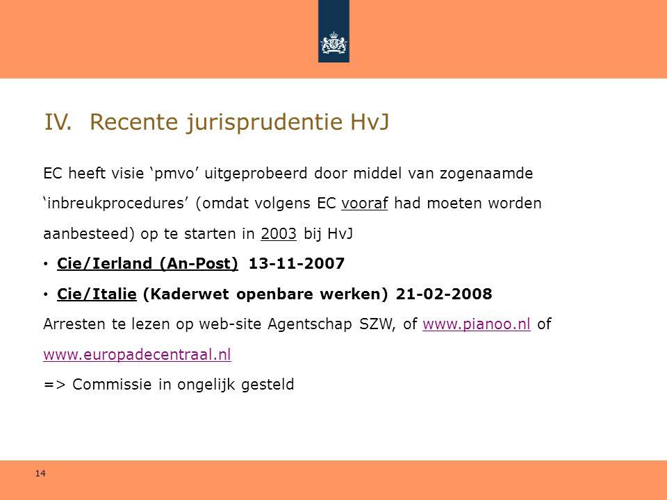 14 IV. Recente jurisprudentie HvJ EC heeft visie 'pmvo' uitgeprobeerd door middel van zogenaamde 'inbreukprocedures' (omdat volgens EC vooraf had moet