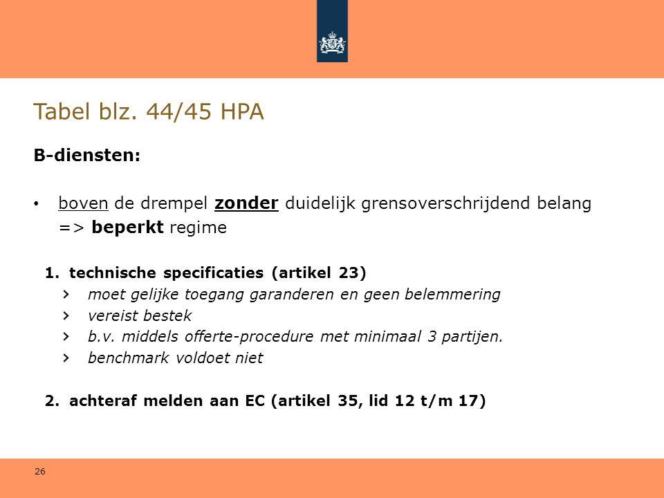 26 Tabel blz. 44/45 HPA B-diensten: • boven de drempel zonder duidelijk grensoverschrijdend belang => beperkt regime 1.technische specificaties (artik