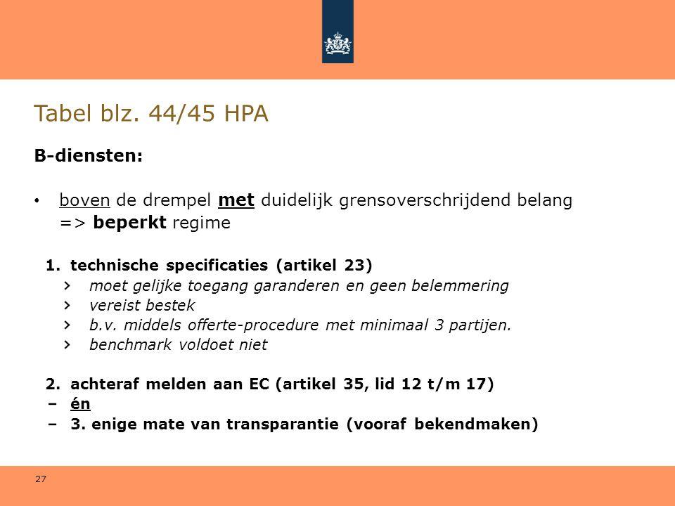27 Tabel blz. 44/45 HPA B-diensten: • boven de drempel met duidelijk grensoverschrijdend belang => beperkt regime 1.technische specificaties (artikel