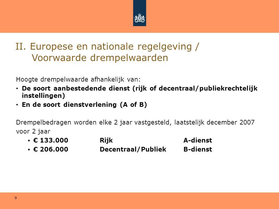 9 II. Europese en nationale regelgeving / Voorwaarde drempelwaarden Hoogte drempelwaarde afhankelijk van: • De soort aanbestedende dienst (rijk of dec
