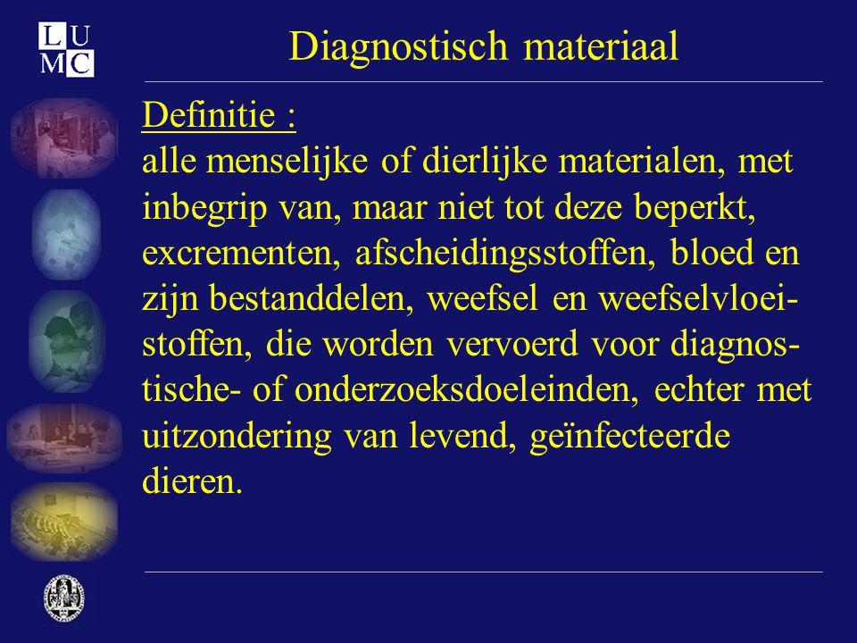 Diagnostisch materiaal Definitie : alle menselijke of dierlijke materialen, met inbegrip van, maar niet tot deze beperkt, excrementen, afscheidingssto