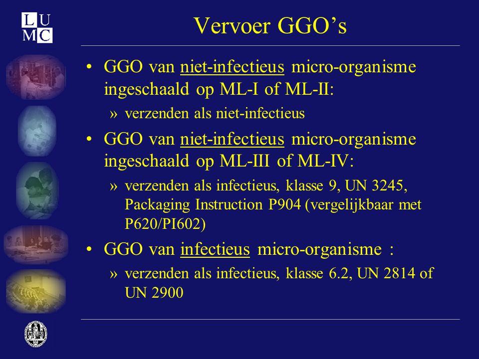 Vervoer GGO's •GGO van niet-infectieus micro-organisme ingeschaald op ML-I of ML-II: »verzenden als niet-infectieus •GGO van niet-infectieus micro-org