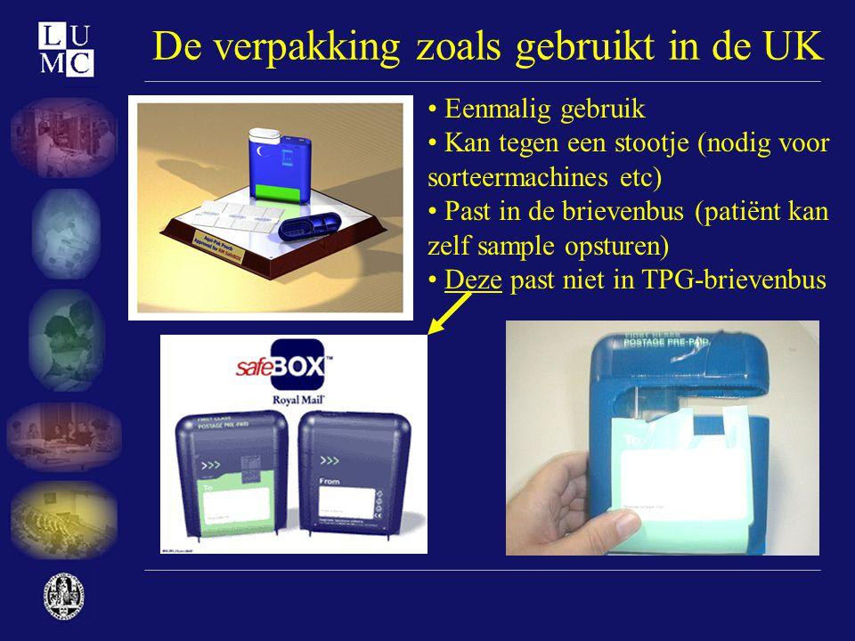 De verpakking zoals gebruikt in de UK • Eenmalig gebruik • Kan tegen een stootje (nodig voor sorteermachines etc) • Past in de brievenbus (patiënt kan