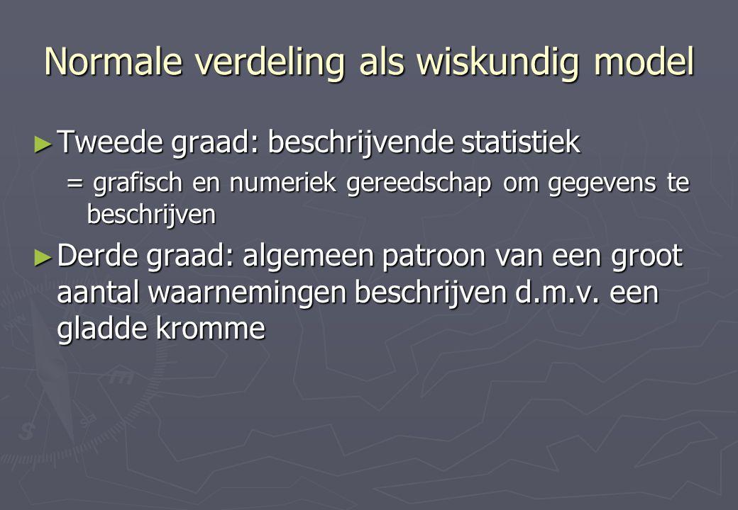 Normale verdeling als wiskundig model ► Tweede graad: beschrijvende statistiek = grafisch en numeriek gereedschap om gegevens te beschrijven ► Derde graad: algemeen patroon van een groot aantal waarnemingen beschrijven d.m.v.