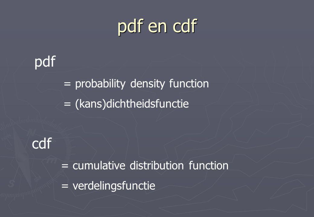 pdf en cdf pdf = probability density function = (kans)dichtheidsfunctie cdf = cumulative distribution function = verdelingsfunctie