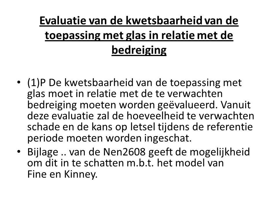 Evaluatie van de kwetsbaarheid van de toepassing met glas in relatie met de bedreiging • (1)P De kwetsbaarheid van de toepassing met glas moet in rela
