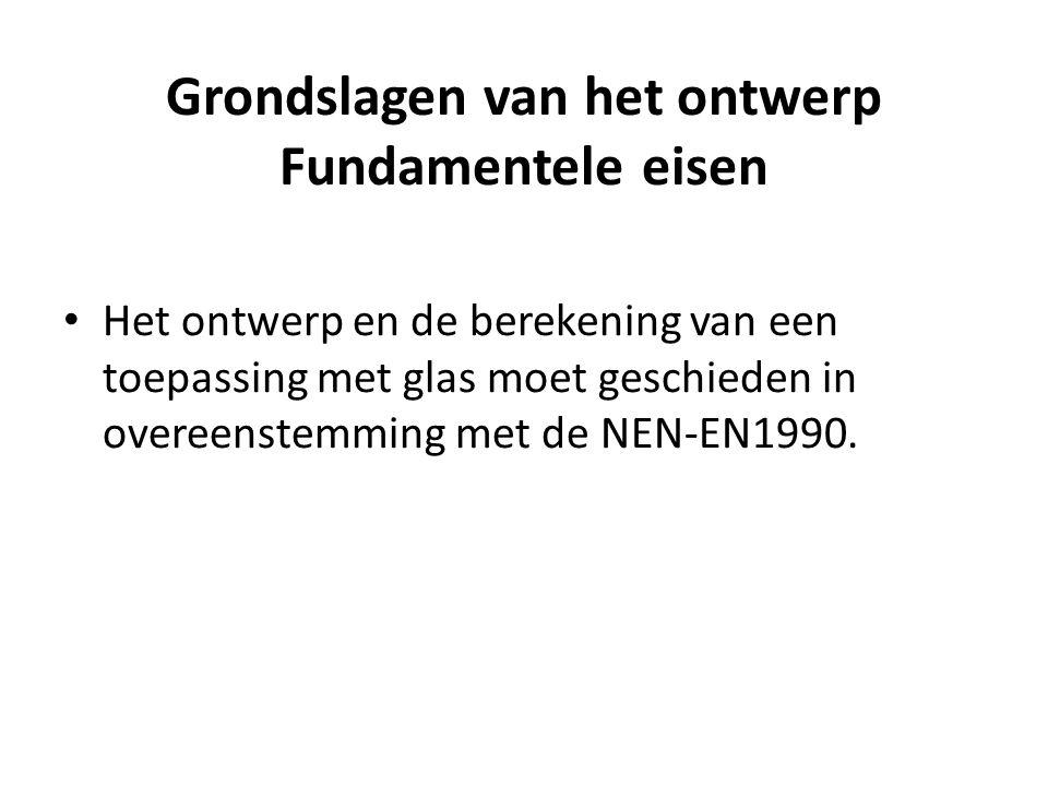 Grondslagen van het ontwerp Fundamentele eisen • Het ontwerp en de berekening van een toepassing met glas moet geschieden in overeenstemming met de NE