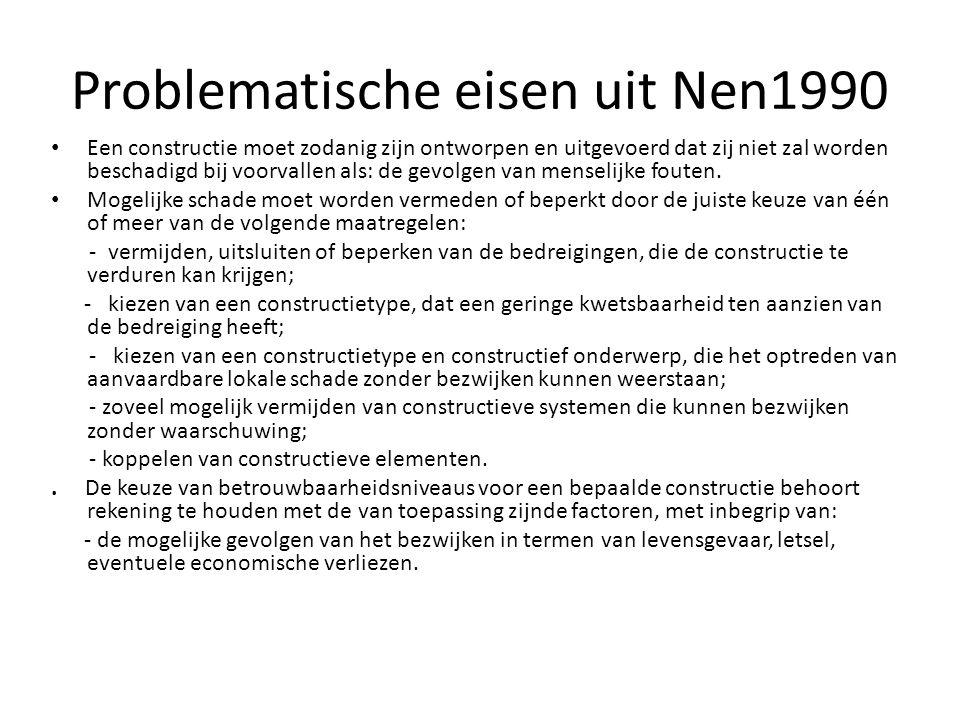 Problematische eisen uit Nen1990 • Een constructie moet zodanig zijn ontworpen en uitgevoerd dat zij niet zal worden beschadigd bij voorvallen als: de