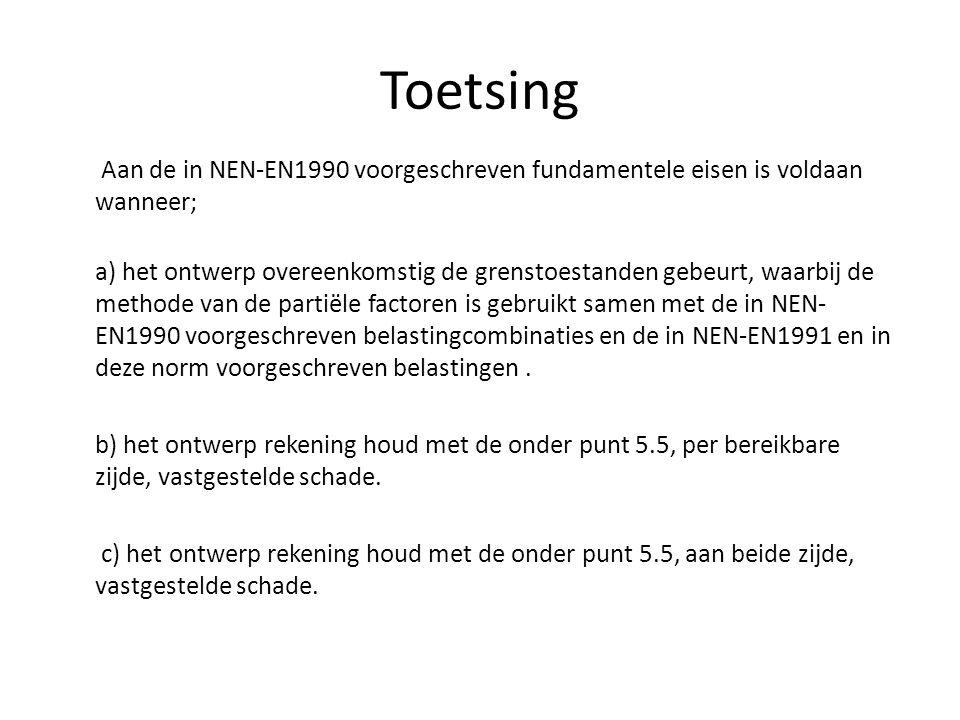 Toetsing Aan de in NEN-EN1990 voorgeschreven fundamentele eisen is voldaan wanneer; a) het ontwerp overeenkomstig de grenstoestanden gebeurt, waarbij