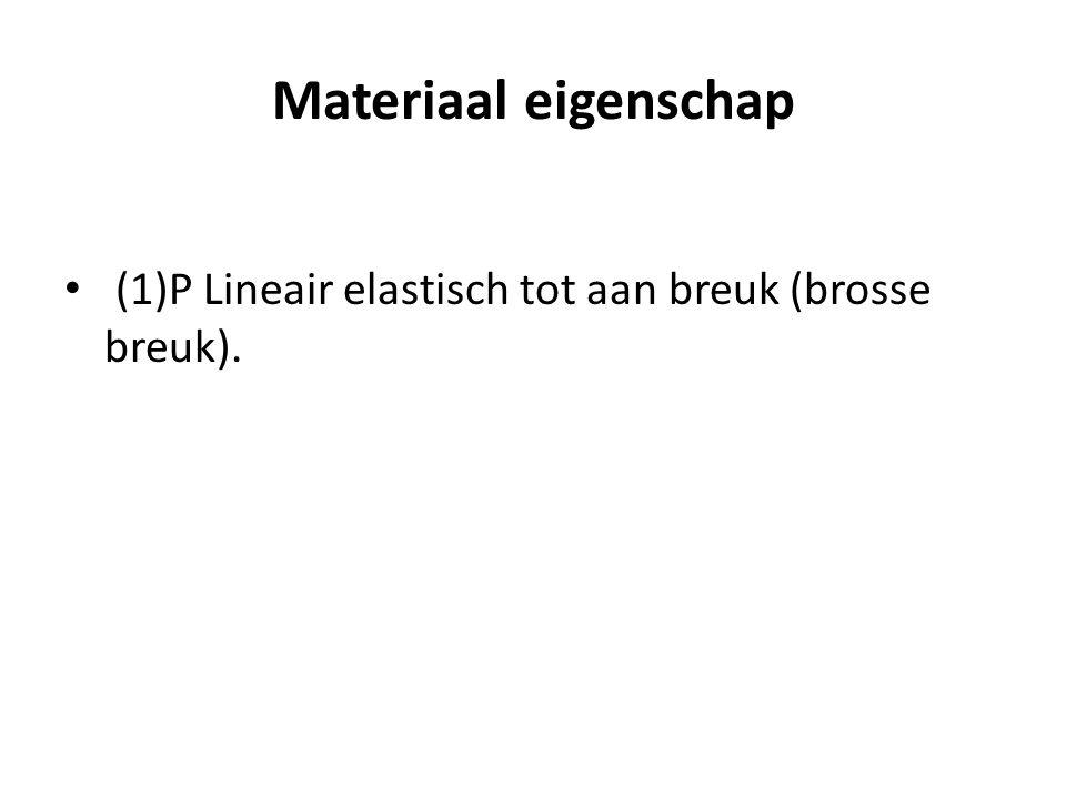 Materiaal eigenschap • (1)P Lineair elastisch tot aan breuk (brosse breuk).