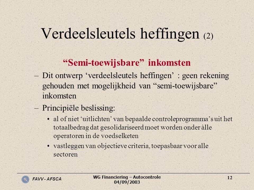 "FAVV - AFSCA WG Financiering – Autocontrole 04/09/2003 12 Verdeelsleutels heffingen (2) ""Semi-toewijsbare"" inkomsten –Dit ontwerp 'verdeelsleutels hef"