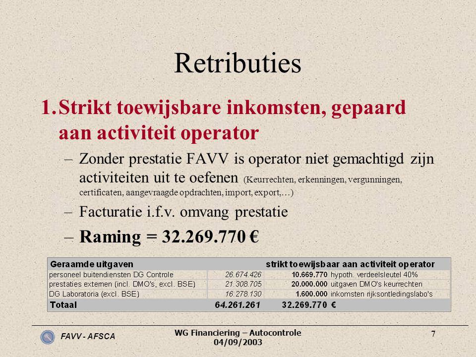 FAVV - AFSCA WG Financiering – Autocontrole 04/09/2003 7 Retributies 1.Strikt toewijsbare inkomsten, gepaard aan activiteit operator –Zonder prestatie