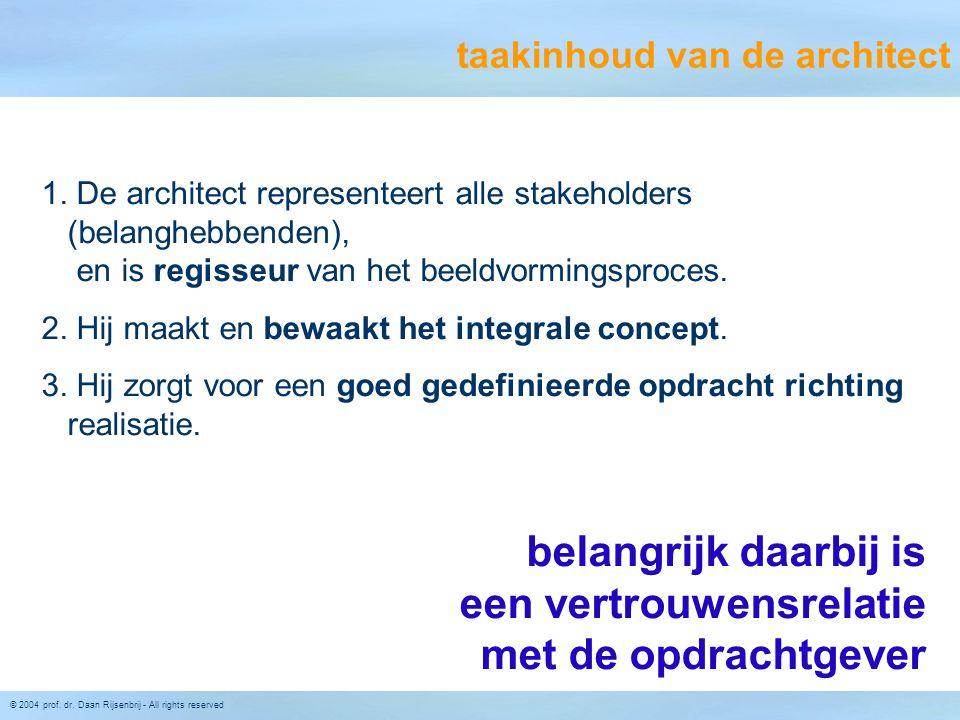 © 2004 prof. dr. Daan Rijsenbrij - All rights reserved 1. De architect representeert alle stakeholders (belanghebbenden), en is regisseur van het beel