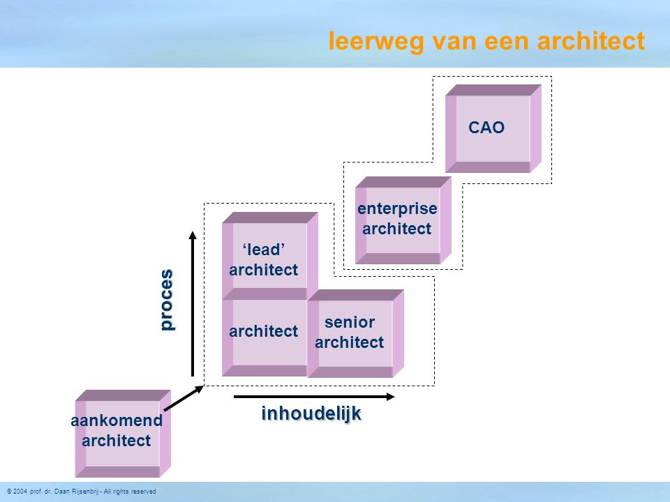 © 2004 prof. dr. Daan Rijsenbrij - All rights reserved architect senior architect 'lead' architect inhoudelijk proces aankomend architect CAO enterpri