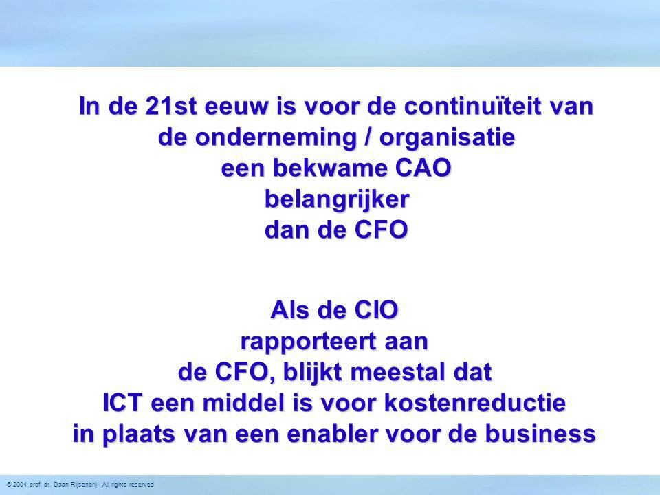 © 2004 prof. dr. Daan Rijsenbrij - All rights reserved In de 21st eeuw is voor de continuïteit van de onderneming / organisatie een bekwame CAO belang