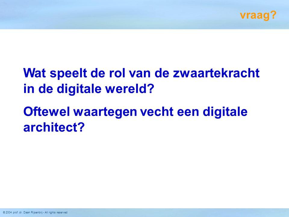 © 2004 prof. dr. Daan Rijsenbrij - All rights reserved Wat speelt de rol van de zwaartekracht in de digitale wereld? Oftewel waartegen vecht een digit