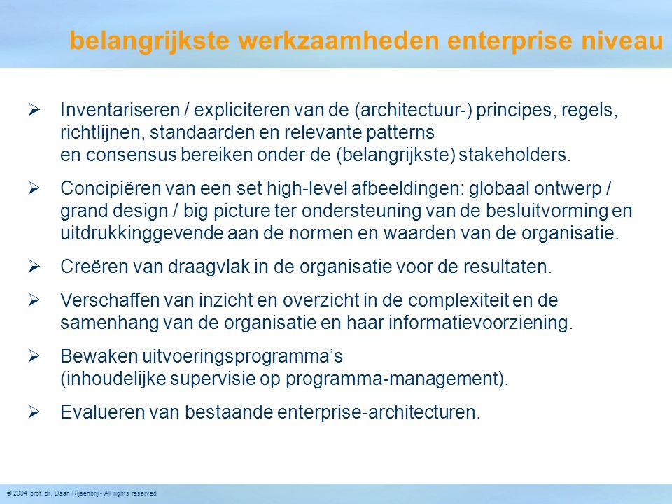 © 2004 prof. dr. Daan Rijsenbrij - All rights reserved belangrijkste werkzaamheden enterprise niveau  Inventariseren / expliciteren van de (architect