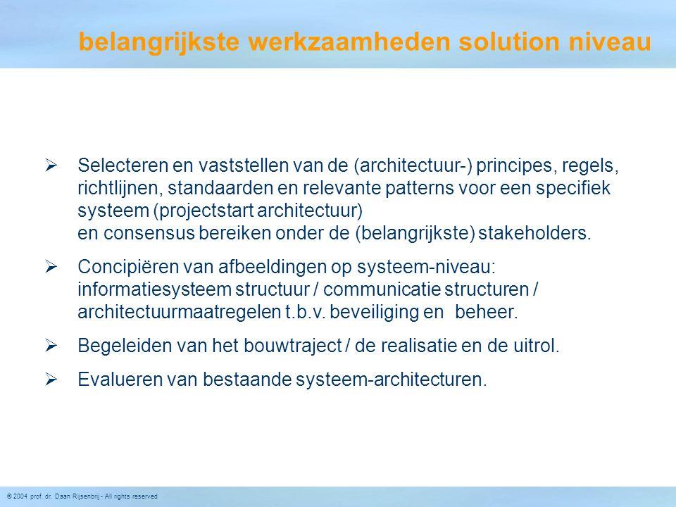 © 2004 prof. dr. Daan Rijsenbrij - All rights reserved  Selecteren en vaststellen van de (architectuur-) principes, regels, richtlijnen, standaarden