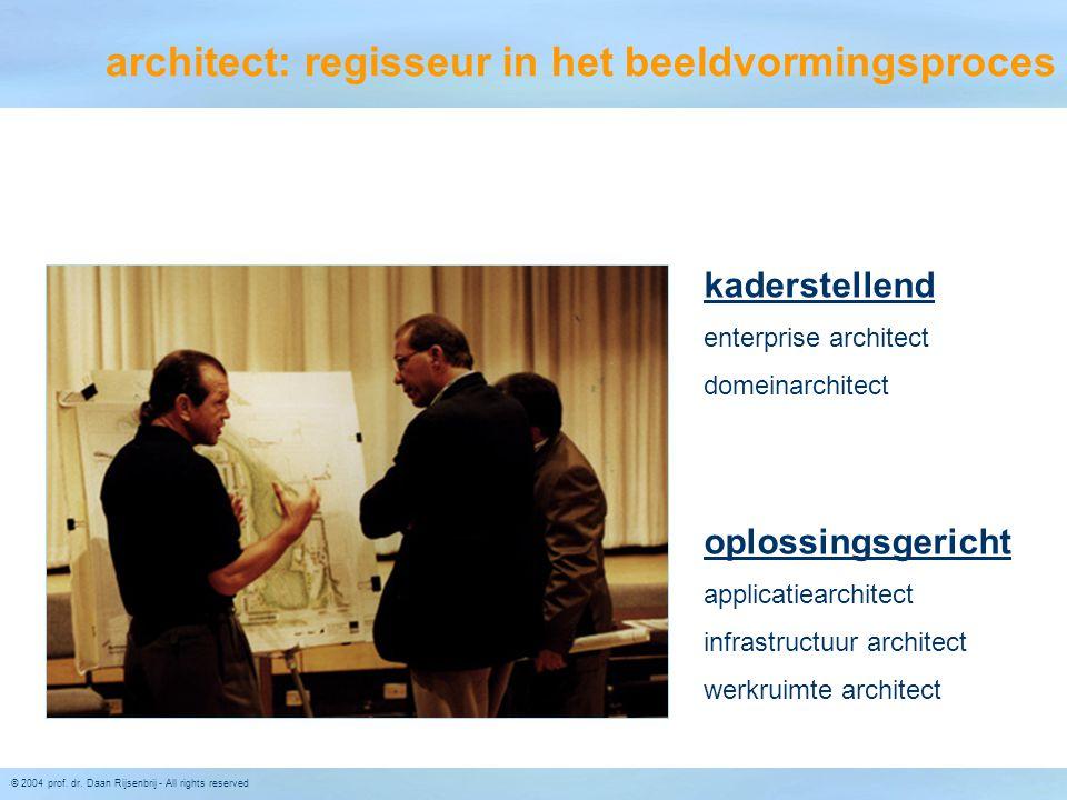 © 2004 prof. dr. Daan Rijsenbrij - All rights reserved architect: regisseur in het beeldvormingsproces kaderstellend enterprise architect domeinarchit
