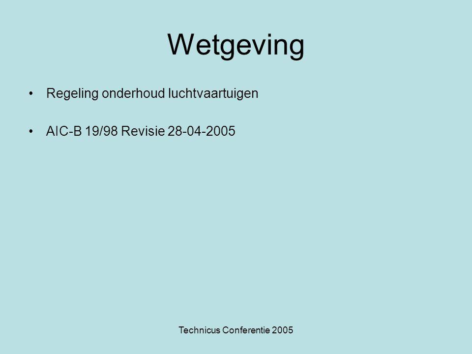 Technicus Conferentie 2005 Regeling Onderhoud Luchtvaart •Artikel 7: Klein onderhoud wordt uitgevoerd door of onder toezicht van een daartoe bevoegde onderhoudstechnicus (ZVT) of door of onder toezicht van een daartoe geschikt erkenninghouder en dat groot onderhoud wordt uitgevoerd door een of onder toezicht van een daartoe geschikte erkenninghouder.