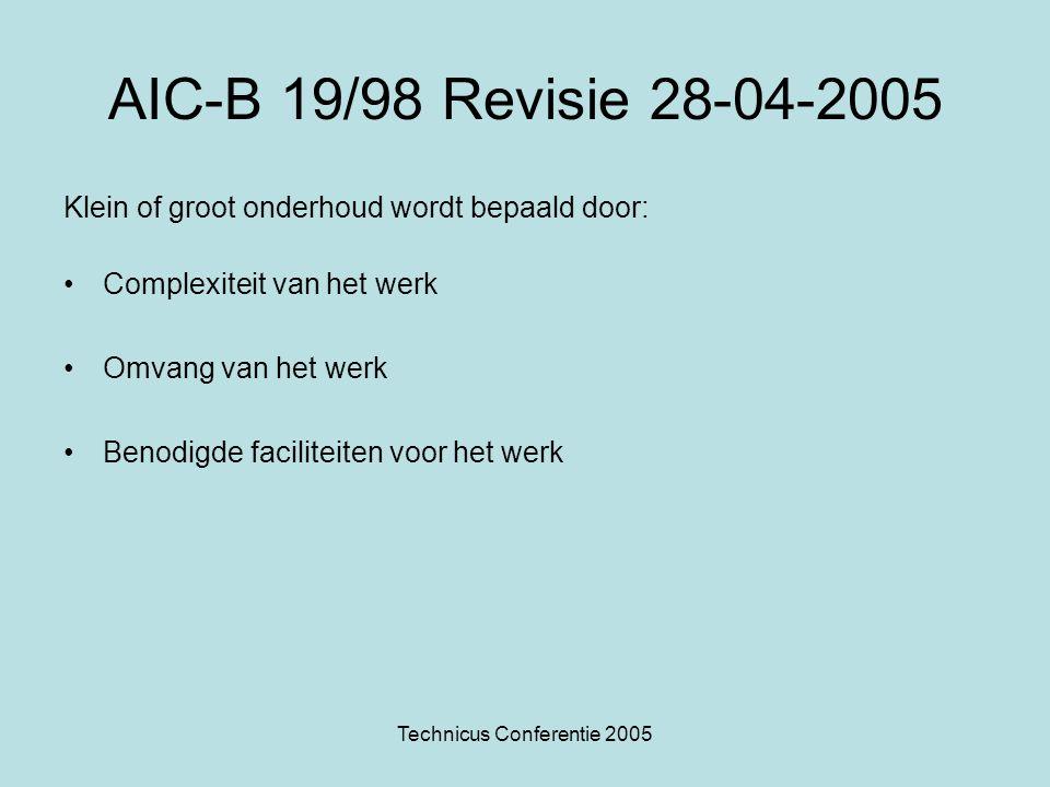 Technicus Conferentie 2005 AIC-B 19/98 Revisie 28-04-2005 Klein of groot onderhoud wordt bepaald door: •Complexiteit van het werk •Omvang van het werk •Benodigde faciliteiten voor het werk