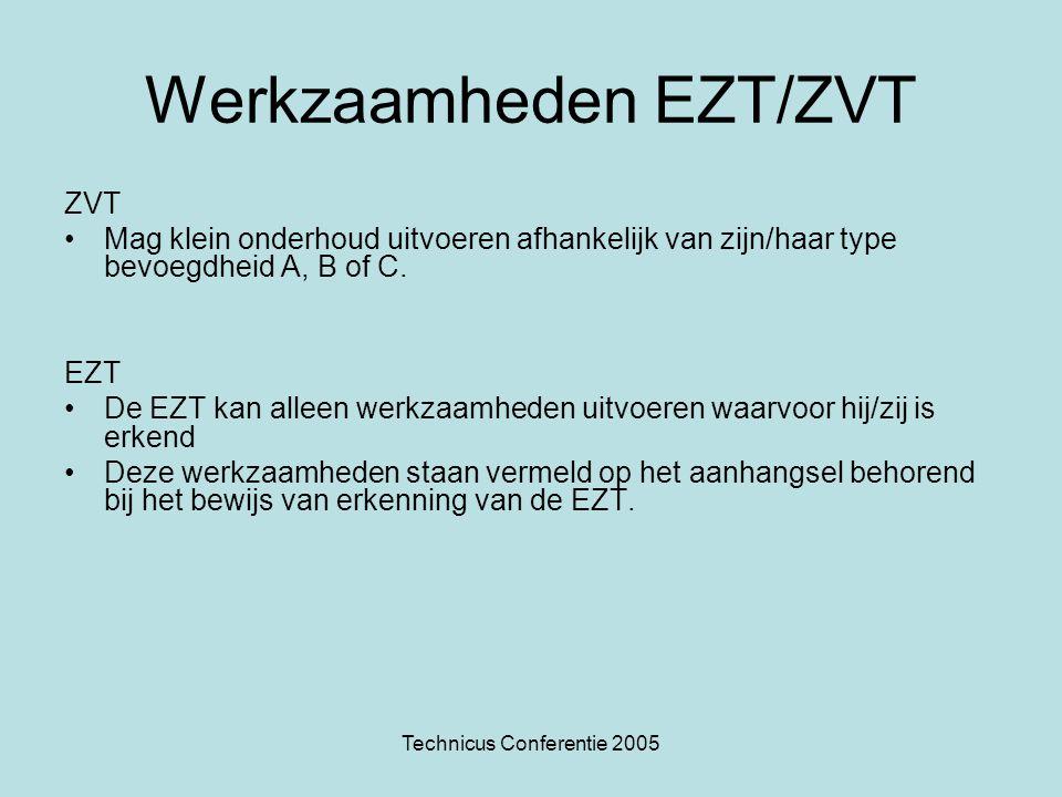 Technicus Conferentie 2005 Werkzaamheden EZT/ZVT ZVT •Mag klein onderhoud uitvoeren afhankelijk van zijn/haar type bevoegdheid A, B of C.