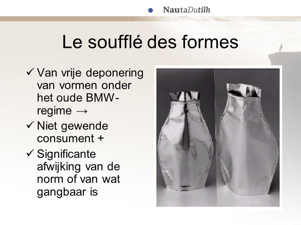 Le soufflé des formes  Van vrije deponering van vormen onder het oude BMW- regime →  Niet gewende consument +  Significante afwijking van de norm o