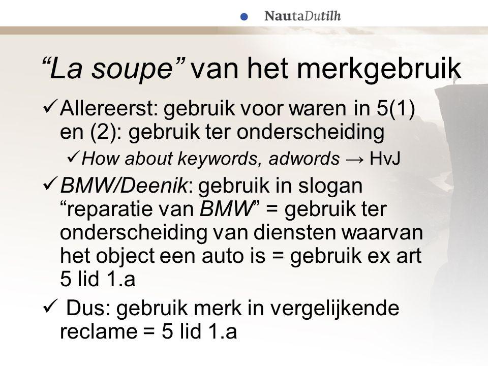 """""""La soupe"""" van het merkgebruik  Allereerst: gebruik voor waren in 5(1) en (2): gebruik ter onderscheiding  How about keywords, adwords → HvJ  BMW/D"""