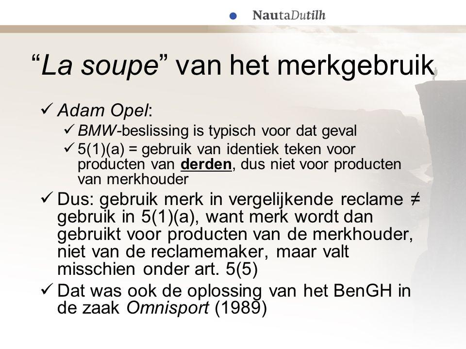 """""""La soupe"""" van het merkgebruik  Adam Opel:  BMW-beslissing is typisch voor dat geval  5(1)(a) = gebruik van identiek teken voor producten van derde"""
