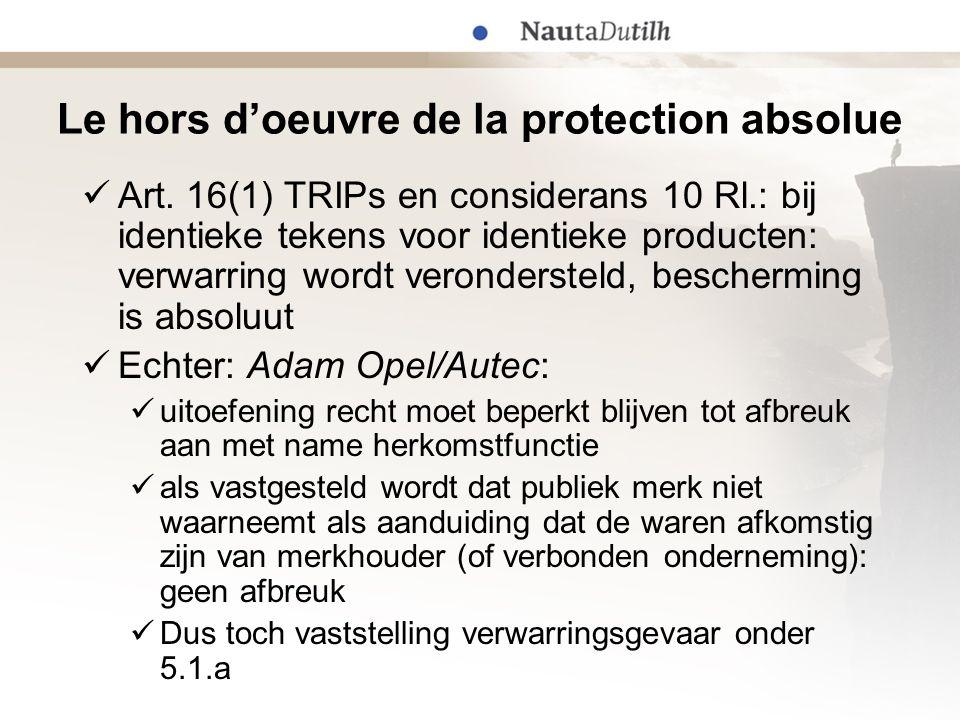 Le hors d'oeuvre de la protection absolue  Art. 16(1) TRIPs en considerans 10 Rl.: bij identieke tekens voor identieke producten: verwarring wordt ve