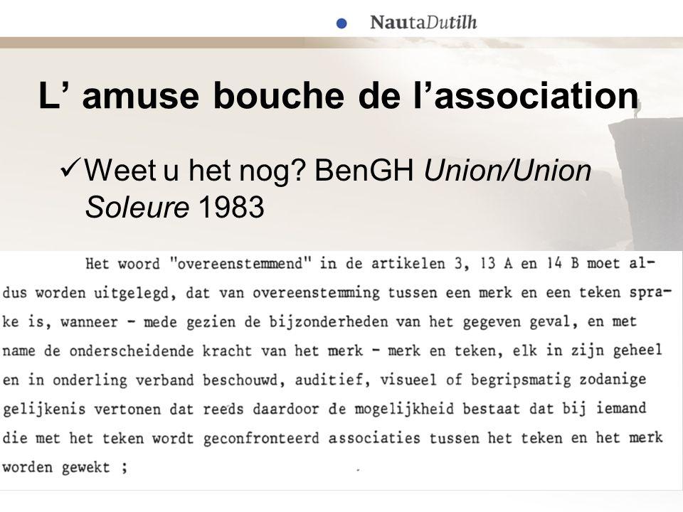 L' amuse bouche de l'association  Weet u het nog? BenGH Union/Union Soleure 1983