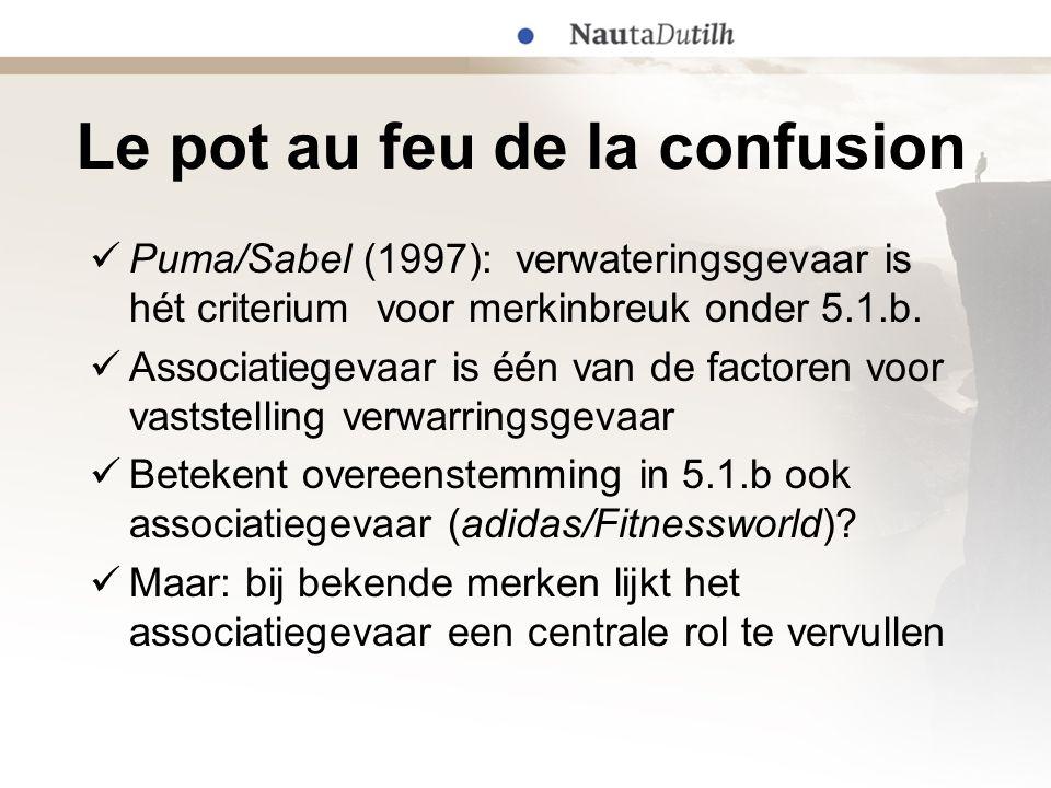 Le pot au feu de la confusion  Puma/Sabel (1997): verwateringsgevaar is hét criterium voor merkinbreuk onder 5.1.b.  Associatiegevaar is één van de