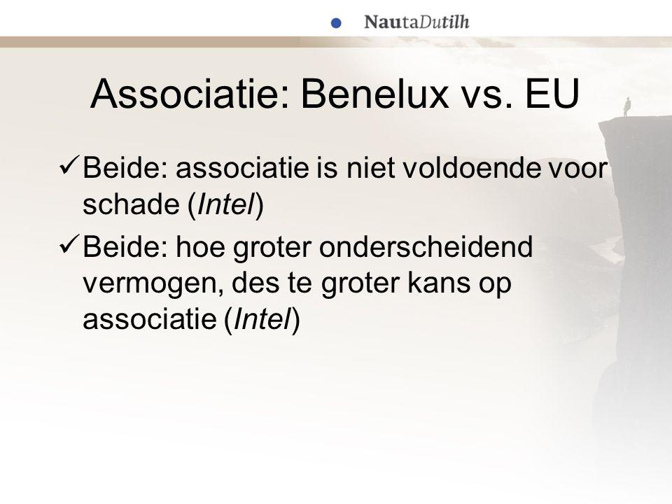 Associatie: Benelux vs. EU  Beide: associatie is niet voldoende voor schade (Intel)  Beide: hoe groter onderscheidend vermogen, des te groter kans o