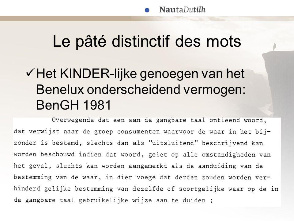 Le pâté distinctif des mots  Het KINDER-lijke genoegen van het Benelux onderscheidend vermogen: BenGH 1981